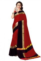New Look Poly Cotton Red and Black Color Saree - Kalavat